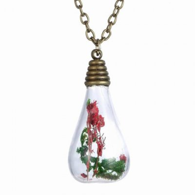Fashionable Glass Water Drop Bottle With Dry Flower Pendant Necklace For Women