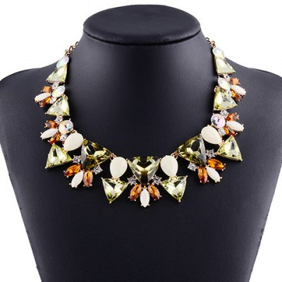 Characteristic Acrylic Rhinestone Hollow Out Triangle Necklace For Women