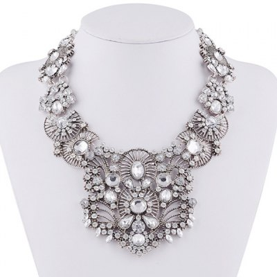 Ethnic Hollow Out Rhinestone Water Drop Necklace