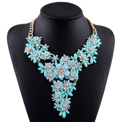 Graceful Rhinestone Floral Pendant Necklace For Women от GearBest.com INT
