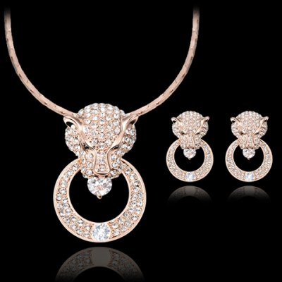 A Suit of Stunning Faux Crystal Rhinestoned Cheetah Head Necklace and Earrings For Women