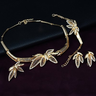 A Suit of Noble Solid Color Hollow Out Leaf Necklace Bracelet Ring and Earrings For Women Онлайн