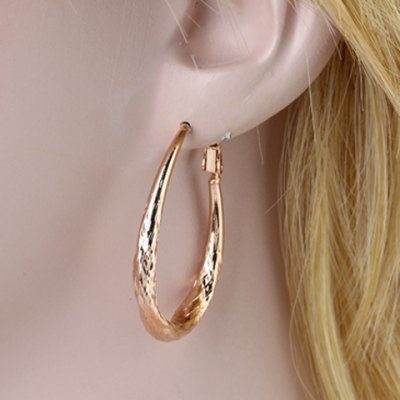Pair of Vintage Solid Color Oval Earrings For Women