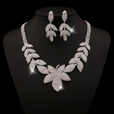 A Suit of Glaring Rhinestoned Leaf Shape Necklace and Earrings For Women