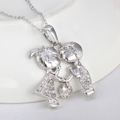Sweet Rhinestone Solid Color Boy And Girl Shape Necklace For WomenNecklaces &amp; Pendants<br>Sweet Rhinestone Solid Color Boy And Girl Shape Necklace For Women<br><br>Item Type: Pendant Necklace<br>Gender: For Women<br>Necklace Type: Link Chain<br>Style: Trendy<br>Shape/Pattern: Figure<br>Length: 45CM<br>Weight: 0.05KG<br>Package Contents: 1 x Necklace