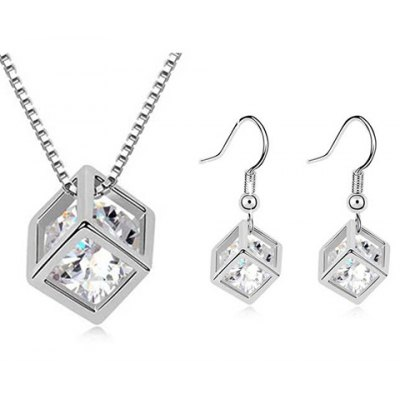 A Suit of Stylish Faux Crystal Rhinestone Hollow Out Cube Shape Necklace and Earrings For Women