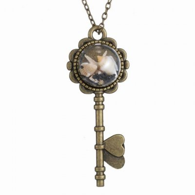 Vintage Key Shape Conch and Starfish Pendant Necklace For Women
