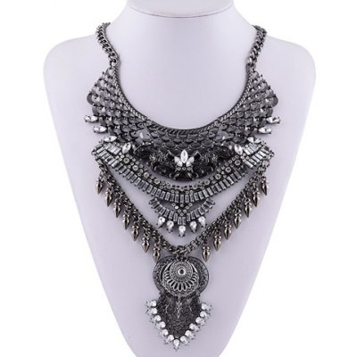 Vintage Layered Rhinestone Bullet Shape Pendant Necklace For Women
