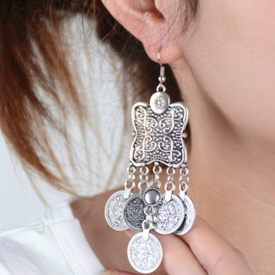 Pair of Vintage Solid Color Coin Tassel Earrings For Women