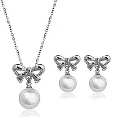 A Suit of Chic Faux Pearl Hollow Out Bowknot Necklace and Earrings For Women