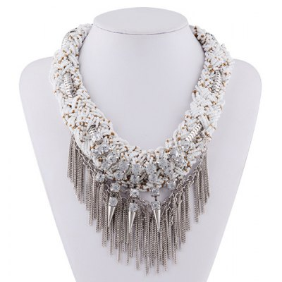 Graceful Rhinestone Layered Rivet Chain Necklace For Women