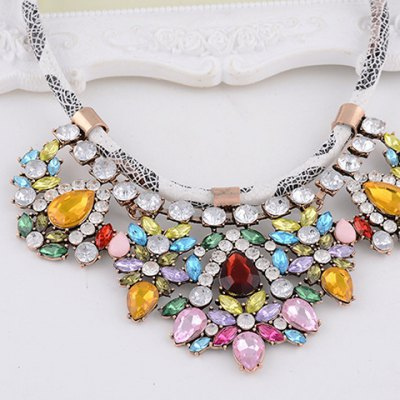Graceful Rhinestone Water Drop Faux Leather Rope Necklace For WomenNecklaces &amp; Pendants<br>Graceful Rhinestone Water Drop Faux Leather Rope Necklace For Women<br><br>Item Type: Pendant Necklace<br>Gender: For Women<br>Style: Trendy<br>Shape/Pattern: Water Drop<br>Length: 49CM<br>Weight: 0.164KG<br>Package Contents: 1 x Necklace