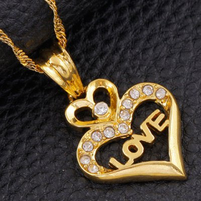 Trendy Rhinestone Hollow Out Heart Shape Necklace For WomenNecklaces &amp; Pendants<br>Trendy Rhinestone Hollow Out Heart Shape Necklace For Women<br><br>Item Type: Pendant Necklace<br>Gender: For Women<br>Necklace Type: Link Chain<br>Style: Trendy<br>Shape/Pattern: Heart<br>Weight: 0.08KG<br>Package Contents: 1 x Necklace
