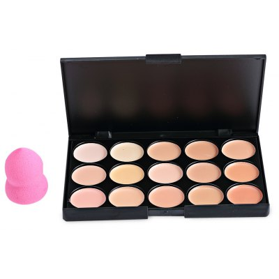 15 Color Cream Camouflage Concealers Palette Cosmetic Makeup Cottect  + Powder Puff