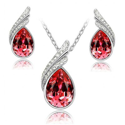 A Suit of Trendy Faux Crystal Water Drop Necklace and Earrings For WomenNecklaces &amp; Pendants<br>A Suit of Trendy Faux Crystal Water Drop Necklace and Earrings For Women<br><br>Item Type: Pendant Necklace<br>Gender: For Women<br>Style: Trendy<br>Shape/Pattern: Water Drop<br>Weight: 0.130KG<br>Package Contents: 1 x Necklace 1 x Earring(Pair)