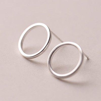 Pair of Simple Style Solid Color Round Polished Surface Earrings For Women