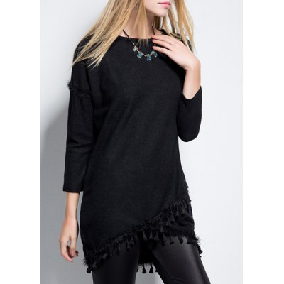 Chic Round Neck 3/4 Sleeve Solid Color Fringed Womens DressWomens Dresses<br>Chic Round Neck 3/4 Sleeve Solid Color Fringed Womens Dress<br><br>Style: Brief<br>Material: Polyester<br>Silhouette: Asymmetrical<br>Dresses Length: Mini<br>Neckline: Round Collar<br>Sleeve Length: 3/4 Length Sleeves<br>Pattern Type: Solid<br>With Belt: No<br>Season: Spring,Fall<br>Weight: 0.50KG<br>Package Contents: 1 x Dress