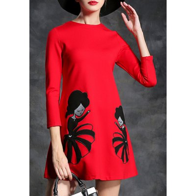 Stylish Round Neck 3/4 Sleeve Cartoon Print Womens Flare DressWomens Dresses<br>Stylish Round Neck 3/4 Sleeve Cartoon Print Womens Flare Dress<br><br>Style: Vintage<br>Material: Polyester<br>Silhouette: A-Line<br>Dresses Length: Mini<br>Neckline: Round Collar<br>Sleeve Length: 3/4 Length Sleeves<br>Pattern Type: Character<br>With Belt: No<br>Season: Spring,Fall<br>Weight: 0.663KG<br>Package Contents: 1 x Dress
