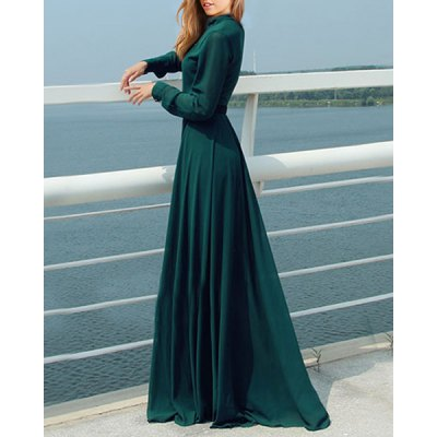 Elegant Stand-Up Collar Long Sleeve Blackish Green Womens Maxi DressWomens Dresses<br>Elegant Stand-Up Collar Long Sleeve Blackish Green Womens Maxi Dress<br><br>Style: Brief<br>Material: Polyester<br>Silhouette: A-Line<br>Dresses Length: Floor-Length<br>Neckline: Stand<br>Sleeve Length: Long Sleeves<br>Pattern Type: Solid<br>With Belt: Yes<br>Season: Spring,Fall<br>Weight: 0.57KG<br>Package Contents: 1 x Dress  1 x Belt