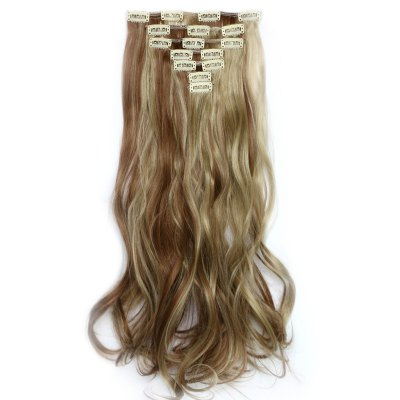 Stunning Long Synthetic Vogue Fluffy Clip In Curly Colormix Hair Extension Suit For Women