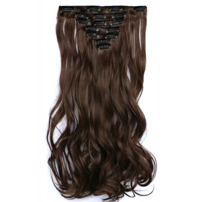 Trendy Mixed Color Elegant Long Fluffy Curly Synthetic Hair Extension Suit For Women