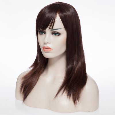 Medium Straight Pretty Brown Natural Wave Capless Wig With Side Bang For Women