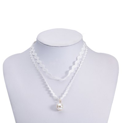 Sweet Faux Pearl Wave Double-Layered Necklace For Women