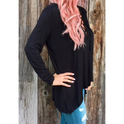 Fresh Style Hooded Solid Color Lace-Up Long Sleeve T-Shirt For WomenWomens T-Shirts<br>Fresh Style Hooded Solid Color Lace-Up Long Sleeve T-Shirt For Women<br><br>Material: Polyester<br>Sleeve Length: Full<br>Collar: Hooded<br>Style: Fashion<br>Pattern Type: Solid<br>Season: Fall<br>Weight: 0.250KG<br>Package Contents: 1 x T-Shirt