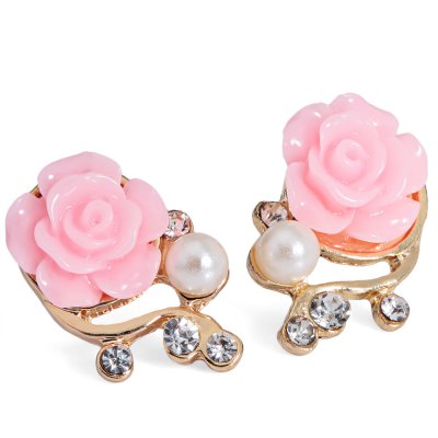 Stylish Elegant Rose Diamond Pearl Earrings Branch Ear Studs