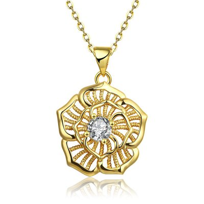 N124-A Zircon Necklace Fashion Jewelry 24K Gold Plating Necklace