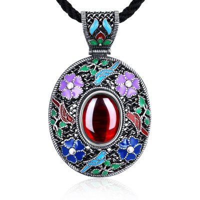 N017-B Antique Geometric Pattern National Style Women Necklace