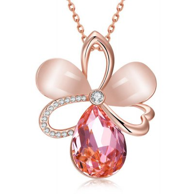 N921-B Rose Gold Plated Czech Diamond Flower Pattern Pendant Necklace