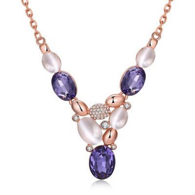 N925-B Bohemia Style Czech Diamond Rose Gold Plated Necklace