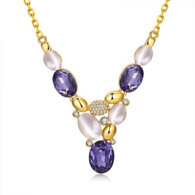 N925-A Bohemia Style Czech Diamond 24K Gold Plated Necklace