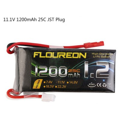 Extra Spare FLOUREON JST Plug 11.1V 1200mAh 25C Battery for RC Helicopter Airplane Boat Model