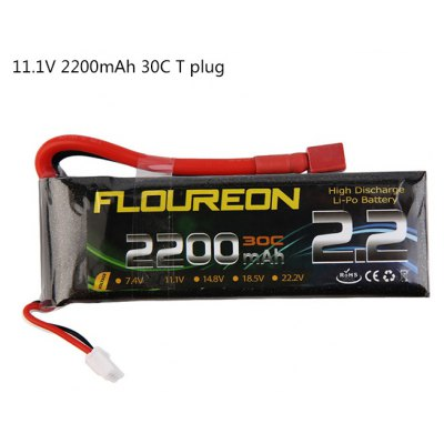 Extra Spare FLOUREON T Plug 11.1V 2200mAh 30C Battery for RC Helicopter Airplane Boat Model