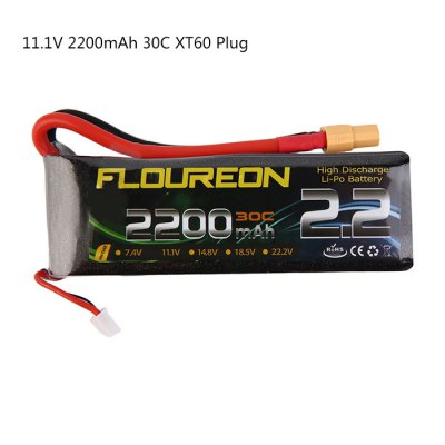 FLOUREON XT60 Plug 11.1V 2200mAh 30C Battery