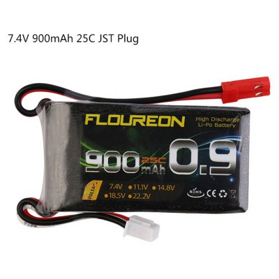 Extra Spare FLOUREON JST Plug 7.4V 900mAh 25C Battery for RC Helicopter Airplane Boat Model