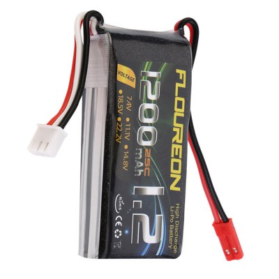 Extra Spare FLOUREON JST Plug 7.4V 1200mAh 25C Battery for RC Helicopter Airplane Boat Model