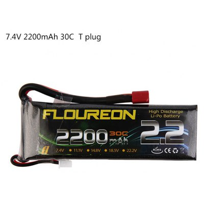 Extra Spare FLOUREON T Plug 7.4V 2200mAh 30C Battery for RC Helicopter Airplane Boat Model