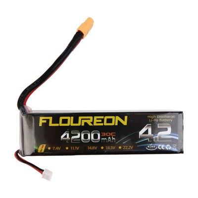 Extra Spare FLOUREON XT60 Plug 22.2V 4200mAh 30C Battery for RC Helicopter Airplane Boat ModelBattery<br>Extra Spare FLOUREON XT60 Plug 22.2V 4200mAh 30C Battery for RC Helicopter Airplane Boat Model<br><br>Battery Coulomb: 30C<br>Battery Voltage: 6S<br>Brand: Floureon<br>Package Contents: 1 x 22.2V 4200mAh 30C Battery<br>Package size (L x W x H): 14 x 4 x 5.5 cm / 5.50 x 1.57 x 2.16 inches<br>Package weight: 0.55 kg<br>Plug Type: XT60<br>Type: Servo, Battery