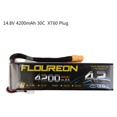 Extra Spare FLOUREON XT60 Plug 14.8V 4200mAh 30C Battery for RC Helicopter Airplane Boat Model