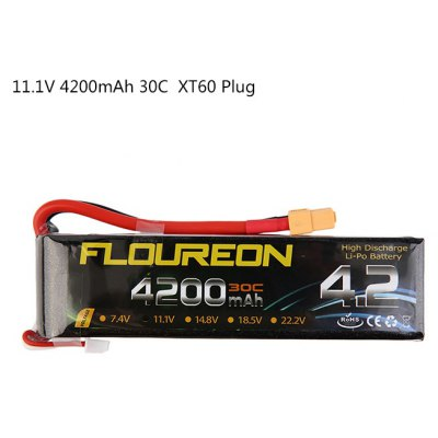Extra Spare FLOUREON XT60 Plug 11.1V 4200mAh 30C Battery for RC Helicopter Airplane Boat Model