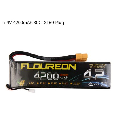 FLOUREON XT60 Plug 7.4V 4200mAh 30C Battery