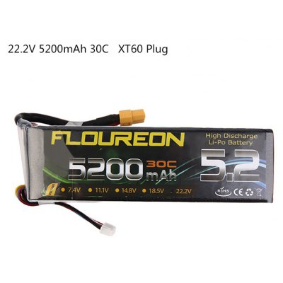 Extra Spare FLOUREON XT60 Plug 22.2V 5200mAh 30C Battery for RC Helicopter Airplane Boat Model