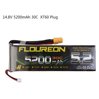 Extra Spare FLOUREON XT60 Plug 14.8V 5200mAh 30C Battery for RC Helicopter Airplane Boat Model