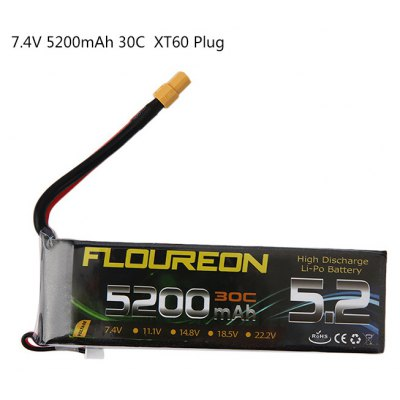 FLOUREON XT60 Plug 7.4V 5200mAh 30C Battery