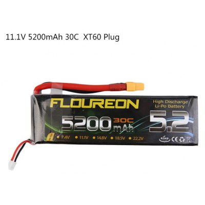 Extra Spare FLOUREON XT60 Plug 11.1V 5200mAh 30C Battery for RC Helicopter Airplane Boat Model