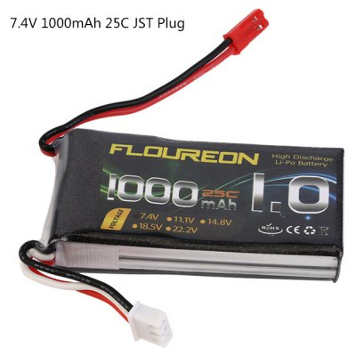 Extra Spare FLOUREON JST Plug 7.4V 1000mAh 25C Battery for RC Helicopter Airplane Boat Model