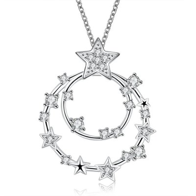 N718 Fashion Romantic Star Double Circle Chain Necklace